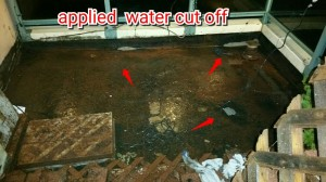 Applied water cut off mastic